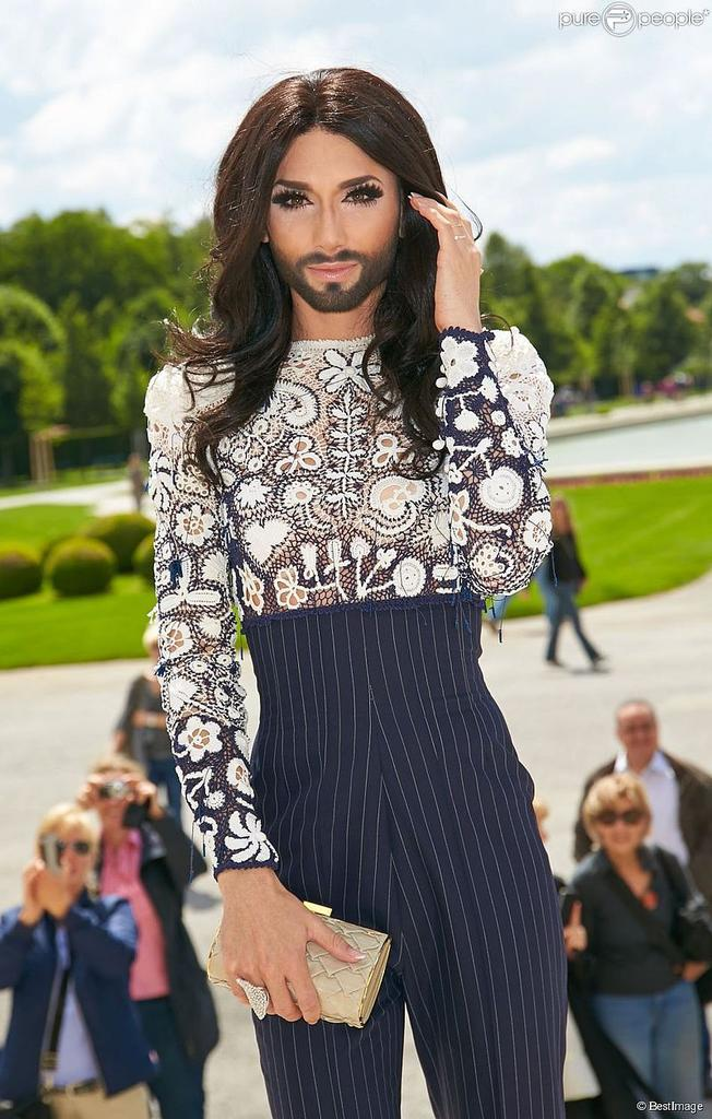 Conchita Wurst at First Ladies Lunch, Schloss Belvedere Vienna with an ADELINE GERMAIN 3D Eel Box Clutch