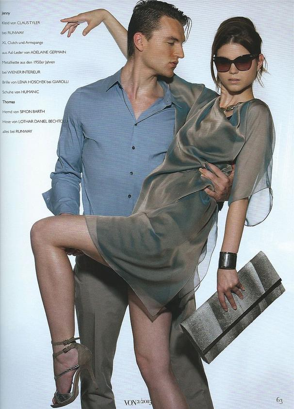 VON Magazin Summer 2015 - ADELINE GERMAIN Salmon leather XL clutch
