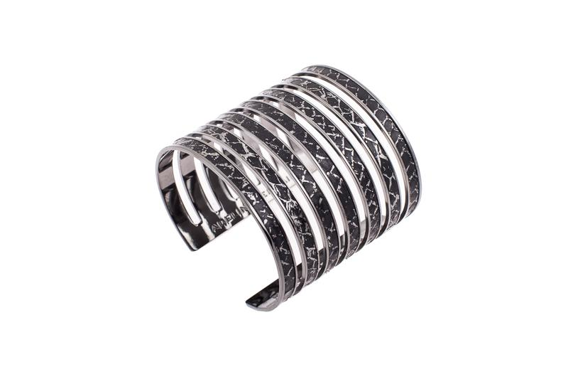 7 Seas Cuff Salmon black with silver sparkle/ruthenium-plated brass frame