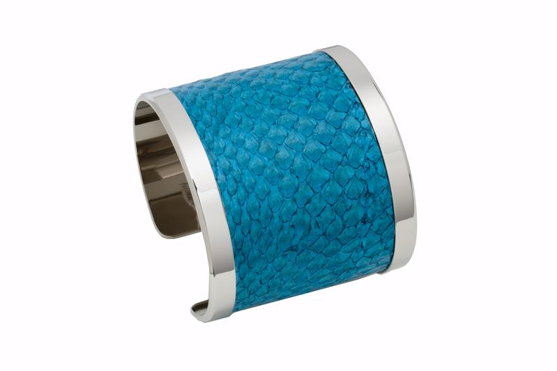 Cuff Salmon Turquoise salmon leather / Silver plated frame