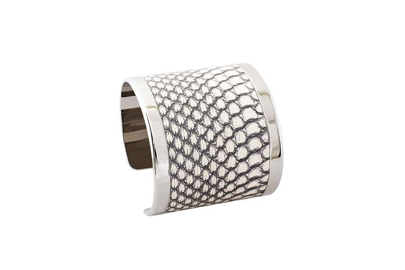 Cuff Elaphe black and white/silver-plated frame