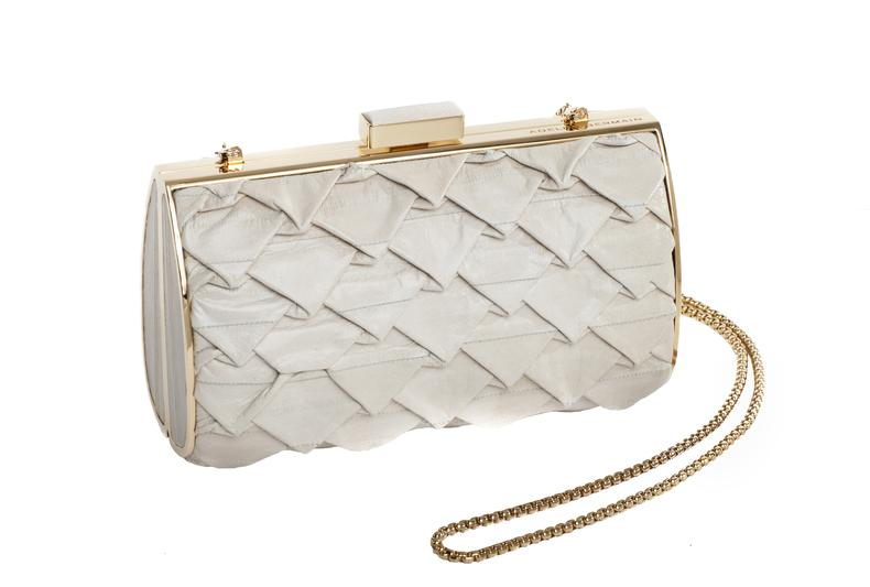 Diva Clutch 3D eel Cream Cream 3D eel leather/gold
