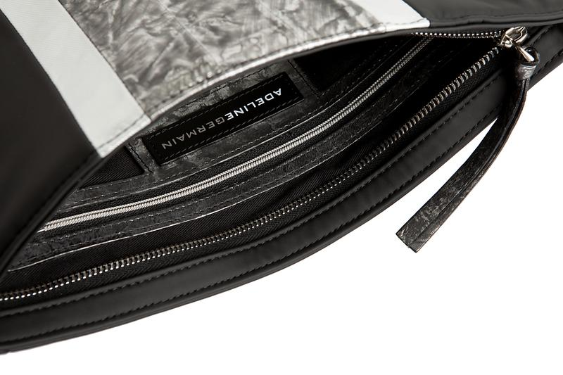 POUCH NEOPRENE & METALLIC EEL LEATHER Black/Metallic